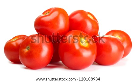 Ripe red tomatoes isolated on white - stock photo