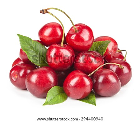 Ripe ripe cherries isolated on white background. - stock photo