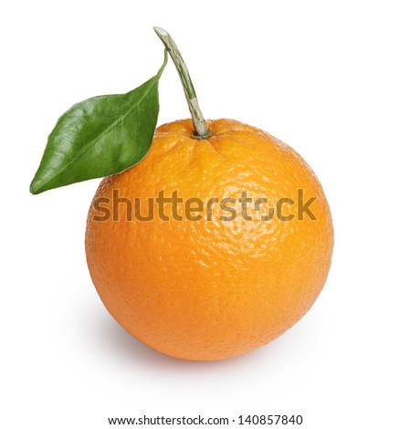 ripe round orange with stem and leaf, isolated on white background