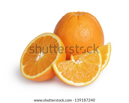 ripe round oranges with half and slices, isolated on white background