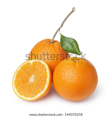 ripe round oranges with half, stem and leaf, isolated on white background
