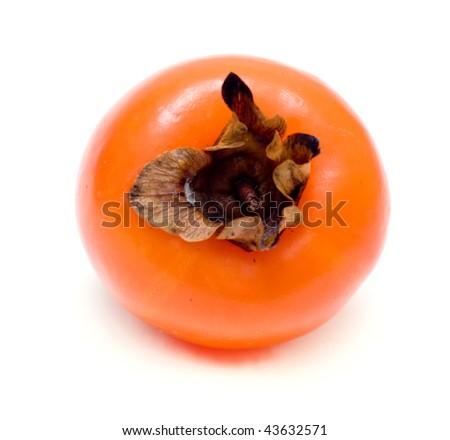 Ripe sharon fruit isolated on white background - stock photo