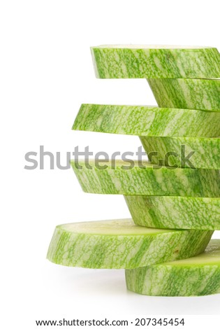 Ripe sliced marrow. Isolated on a white background. - stock photo