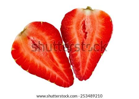 Ripe sliced strawberry fruit on a white background. isolated - stock photo