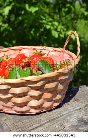 Ripe strawberries in a basket.