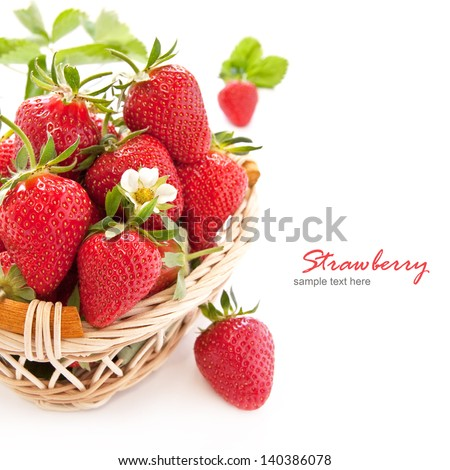 Ripe strawberries in the basket on a white background