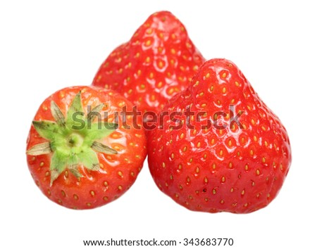 Ripe strawberry it is isolated on a white background - stock photo