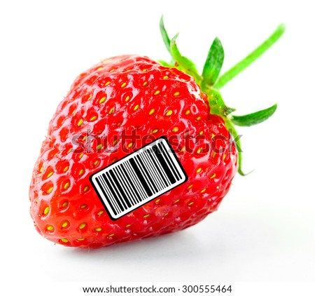 Ripe strawberry with barcode, isolated on white - stock photo