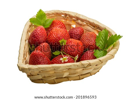 Ripe strawberry with leaves and flower