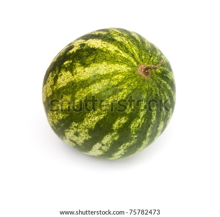 Ripe striped green watermelon isolated on a white background