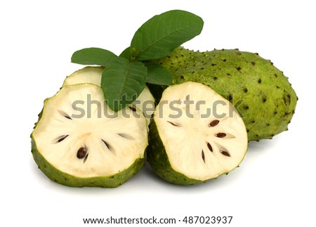 ripe Sugar Apple fruit Isolated on white background