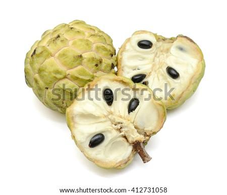 Ripe Sugar Apple fruit with half Isolated on white background  - stock photo