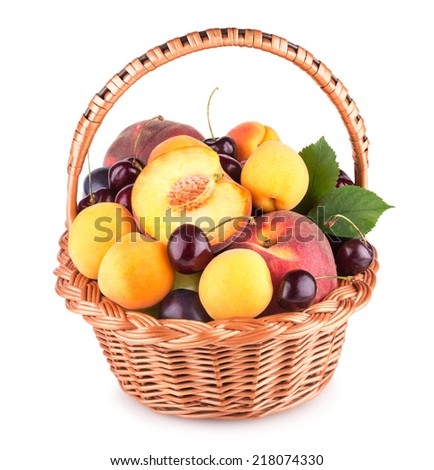 ripe summer fruits in a basket