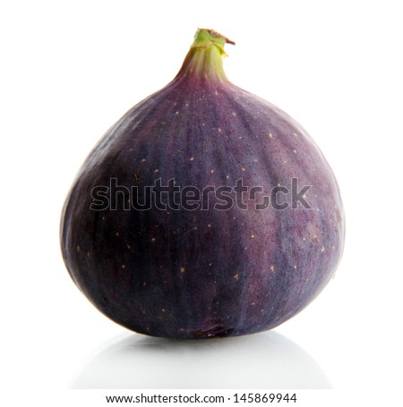 Ripe sweet fig isolated on white - stock photo