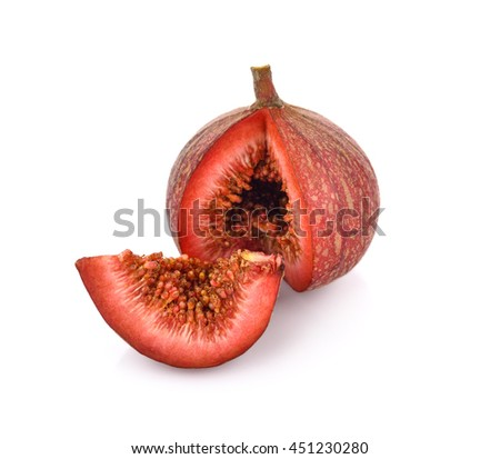 Ripe sweet fig isolated on white background - stock photo