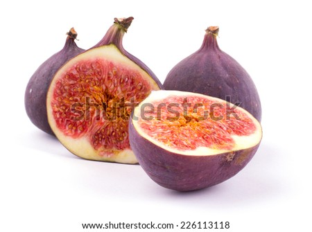 Ripe sweet figs isolated on white background cutout - stock photo