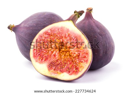 Ripe sweet figs sliced isolated on white background cutout - stock photo