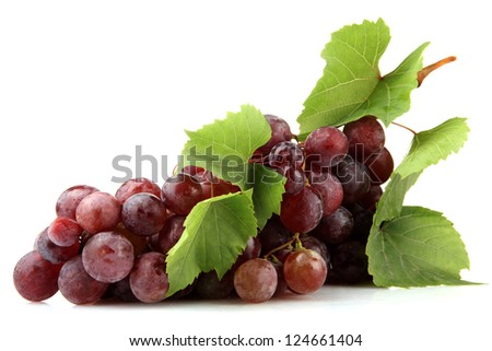 ripe sweet grapes isolated on white - stock photo
