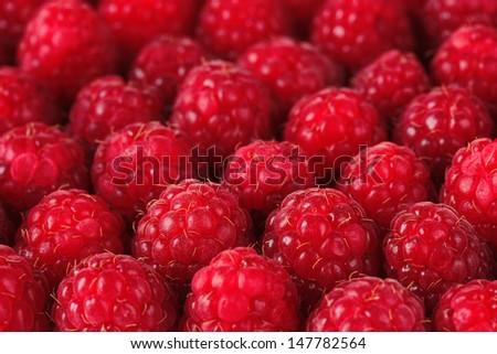 Ripe sweet raspberries, close up - stock photo
