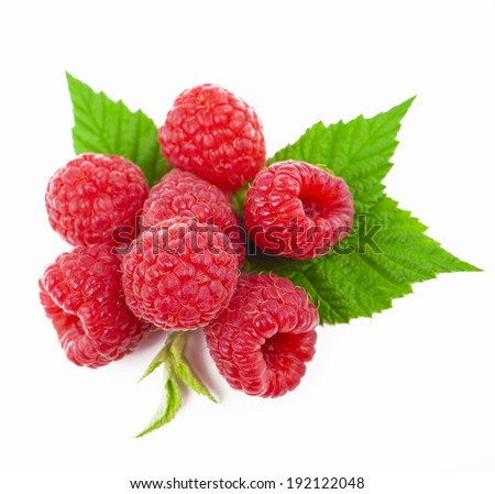 ripe sweet red raspberry with a shade and reflection isolated on a white background  - stock photo
