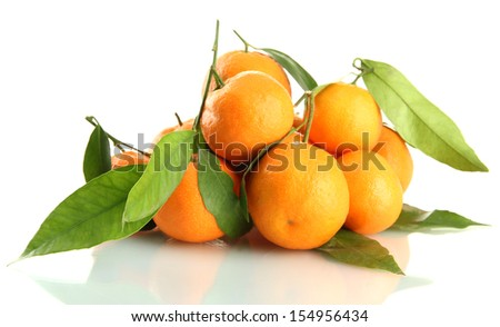 Ripe sweet tangerines with leaves, isolated on white