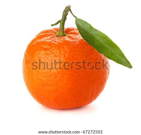 Ripe tangerine with green leaf. Isolated on white - stock photo