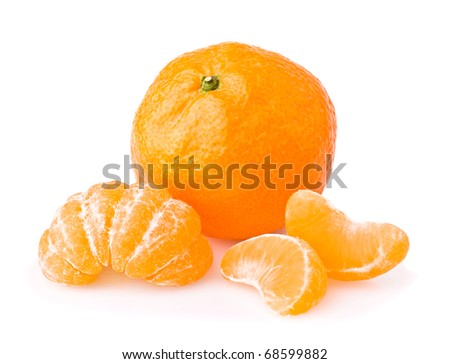 Ripe tangerine with slices isolated on white background