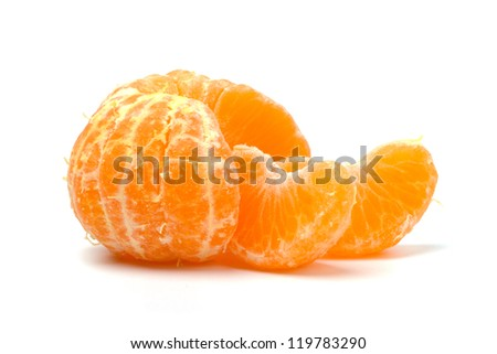Ripe tangerines isolated on white background