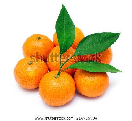 Ripe tangerines or mandarin with leaf isolated on white background - stock photo