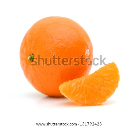 Ripe tangerines or mandarin with slice isolated on white