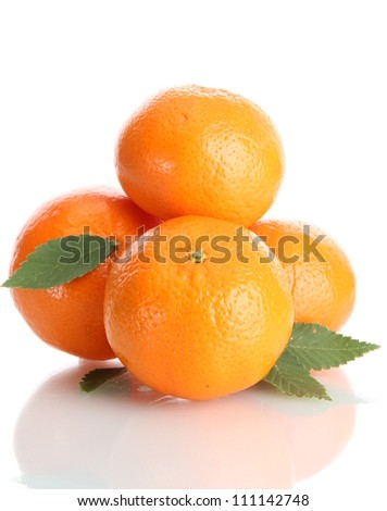 ripe tangerines with leaves isolated on white - stock photo