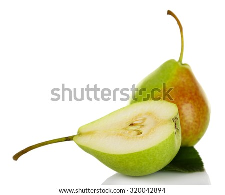 Ripe tasty pears isolated on white - stock photo