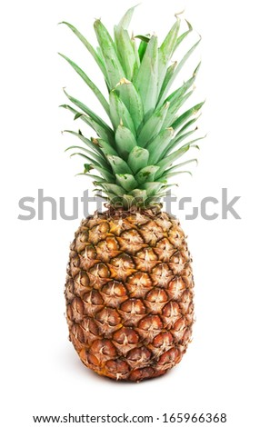 Ripe tasty pineapple isolated on white background