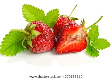 ripe tasty strawberries isolated on white background - stock photo