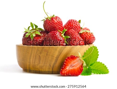 ripe tasty strawberries isolated on white background - stock photo