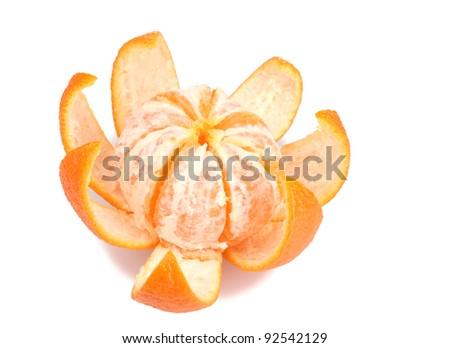Ripe tasty tangerines with peel  isolated on white - stock photo