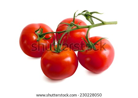 Ripe tasty tomatoes on white background. Shallow depth of field - stock photo