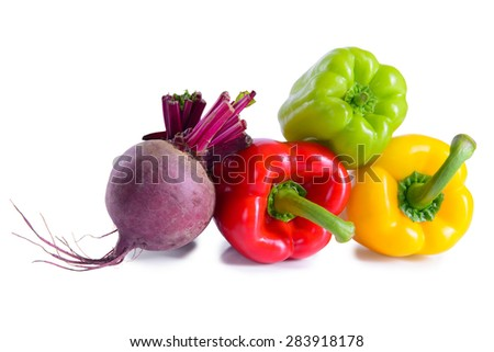 ripe vegetables peppers and beets vegetarian isolated - stock photo
