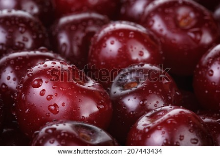 ripe washed cherries close up, organic food background - stock photo