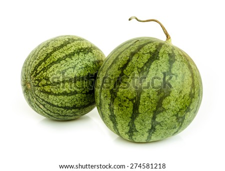 Ripe water melon isolated on white background . - stock photo