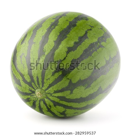 Ripe watermelon isolated on white background cutout
