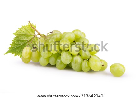 ripe white grapes with leaves isolated - stock photo