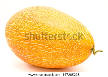 Ripe whole melon isolated on a white background