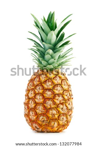 Ripe whole pineapple isolated on white - stock photo