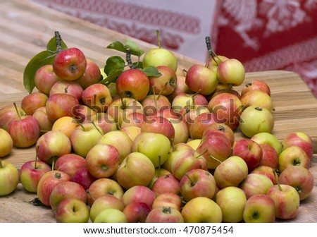 ripe wild apple tree crop on the table