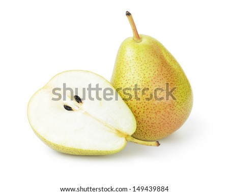 ripe williams pears, isolated on white background - stock photo