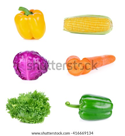 Ripe yellow bell peppers,Ripe green bell peppers,purple cauliflower,Maize, Carol,Lettuce on white background - stock photo