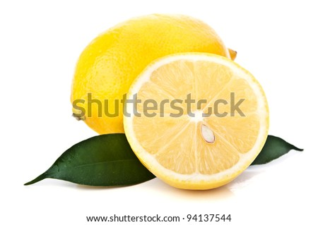 ripe yellow lemon isolated on a white background
