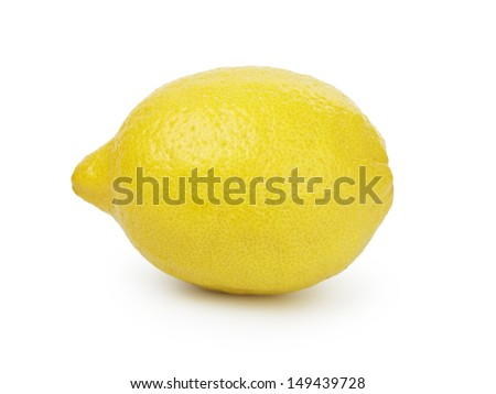 ripe yellow lemon, isolated on white background