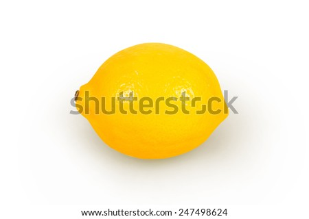 Ripe yellow lemon on a white background - stock photo